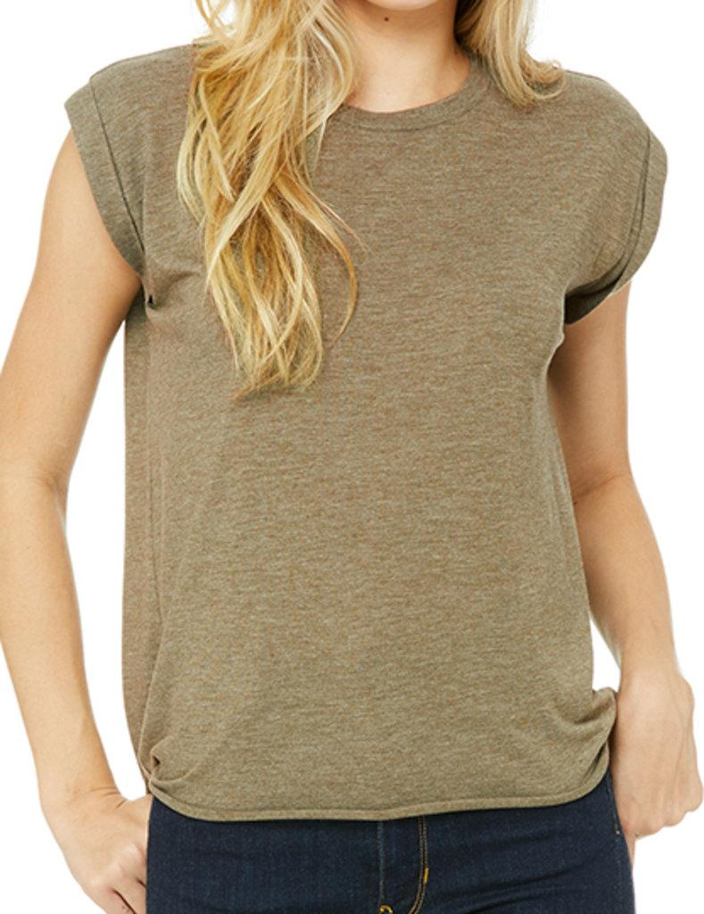 Women`s Flowy Muscle Tee with Rolled Cuff