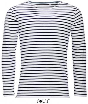 Men`s Long Sleeve Striped T-Shirt Marine