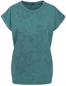 Ladies` Acid Washed Extended Shoulder Tee