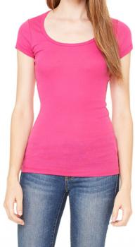 Sheer Rib Scoop Neck T-Shirt