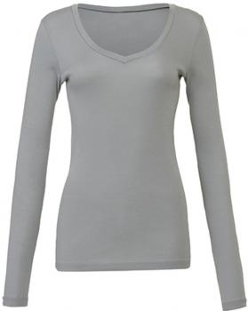 Sheer Rib Long Sleeve V-Neck T-Shirt